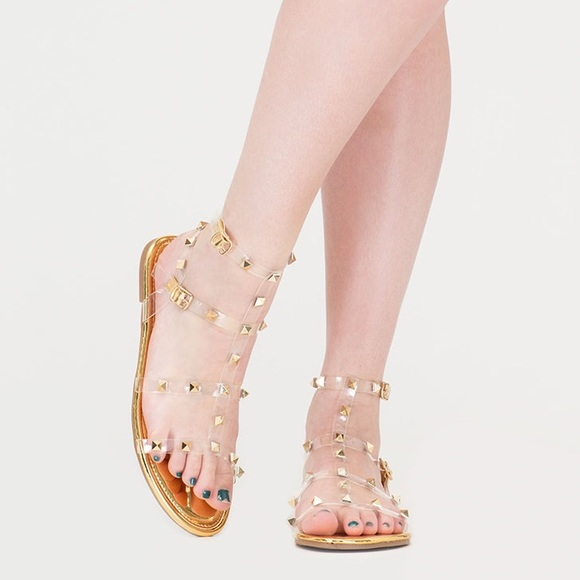 2fb8509469b7 Clear Fave Studded Metallic Gold Gladiator Sandals